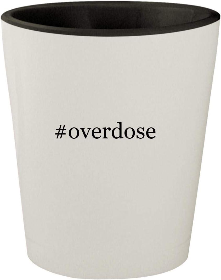 #overdose - White Outer & Black Inner Hashtag Ceramic 1.5oz Shot Glass