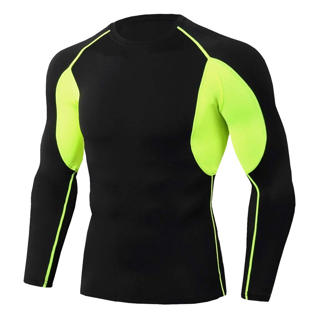 Pitauce Sport Tees for Men Men's Long Sleeve T-Shirt Compression Baselayer Athletic Sports T-Shirts Tops Green