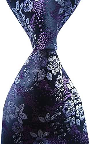 Allbebe Men's Classic Floral Purple Black Jacquard Woven Silk Tie Necktie