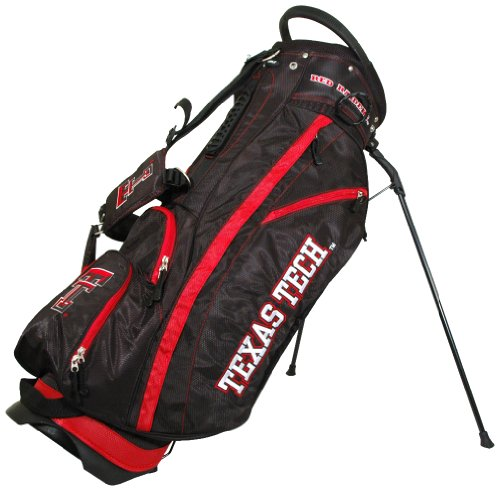 Team Golf NCAA Texas Tech Red Raiders Fairway Golf Stand Bag, Lightweight, 14-way Top, Spring Action Stand, Insulated Cooler Pocket, Padded Strap, Umbrella Holder & Removable Rain - Texas Tech Stand