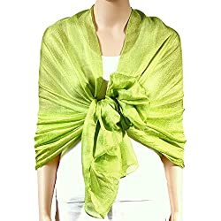 QBSM Womens Lime Green Large Solid Soft Bridal Evening Wedding Scarf Shawl Wrap Cover Up