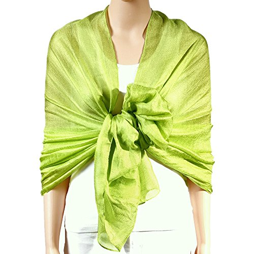 Lime Green Bridal Dresses - QBSM Womens Lime Green Large Solid Soft Bridal Evening Wedding Scarf Shawl Wrap Cover Up
