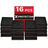 "Furniture Pads for Wood Floors X-PROTECTOR NON SLIP FURNITURE PADS – PREMIUM 16 pcs 2"" Furniture Grippers! Best SelfAdhesive Rubber Feet Furniture Feet – Ideal Non Skid Furniture Pad Floor Protectors for Fix in Place Furniture"