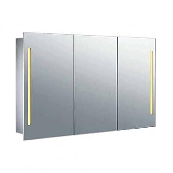 Schön Spiegelschrank Galdem QUADRAT100 / 3D Badezimmerschrank 100cm / 3 Türig /  Mit LED   Beleuchtung /