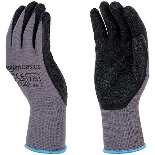 AmazonBasics Latex Coated Work Gloves, Nylon Liner Fiber, Grey, Size 7, S, 12-Pair