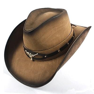 YWHY Womens Mens Western Jazz Cowboy Hat, Brim Leather Summer Sun Hat Bull Head