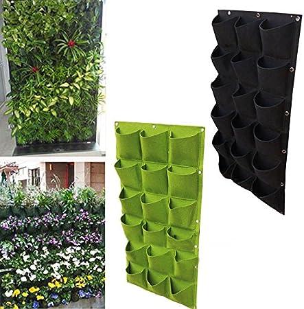 espeedy 18 bolsillo jardín pared vertical bolsas de cultivo para plantas flores maceta de fieltro bolsas: Amazon.es: Hogar