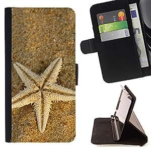 For Motorola Moto E ( 1st Generation ) Case , Playa Starfish- la tarjeta de Crédito Slots PU Funda de cuero Monedero caso cubierta de piel