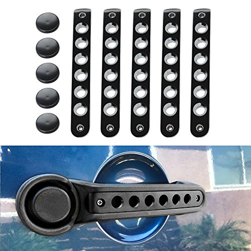Grab Handle Inserts Cover+Push Button Knobs Cover Trim for 2007-2017 Jeep Wrangler JK & Unlimited (4 Door/Black) ()