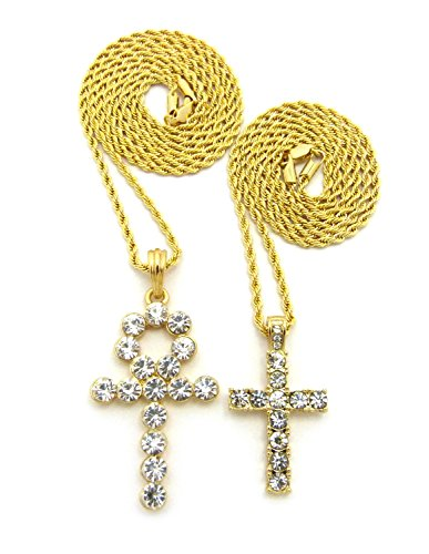 (Iced Out Ankh, Cross Pendant 20