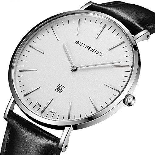 BETFEEDO Men's Ultra-Thin Quartz Analog Date Wrist Watch with Black Leather Strap (WHITE/BLACK) (Leather Strap White Black)