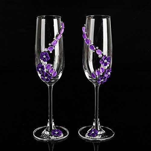 purple champagne wedding glasses handmade pealr & flower bride and groom flutes,His and Hers Flute - Wedding Gift -