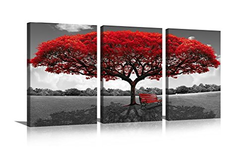 HLJ Art Black and White Pictures Giclee Canvas Prints Red Tree Bench Modern Artwork Wall Décor for Living Room Office Dining Room