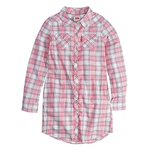 Levi's Girls' Big Long Sleeve Western Dress, Candy Pink, L (Pink Plaid Western Shirt)