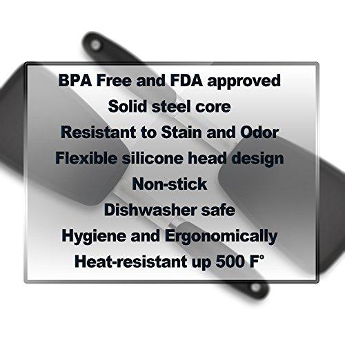 Hygienic Solid Heat-Resistant Flexible Silicone Spatula, Black Non-stick Silicone Turner