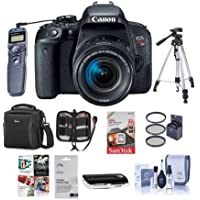 Canon EOS Rebel T7i DSLR with EF-S 18-55mm f/4-5.6IS STM Lens - Bundle with Camera Case, 64GB SDHC Card, Tripod, Remote Shutter Trigger, 58mm Filter Kit, Screen Protector, Cleaning Kit, Software Pack
