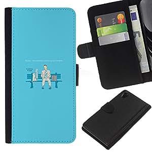 LECELL--Cuero de la tarjeta la carpeta del tirón Smartphone Slots Protección Holder For Sony Xperia Z2 D6502 -- Solo en Silla --