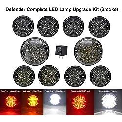 LED Update Complete Light Kits - 10pcs Upgrade Round Led Indicator Light Rear Tail Lmap Fog & Reverse & Front Side Light For Land Rover Defender 1990-2016(Smoked lens total 10pcs)