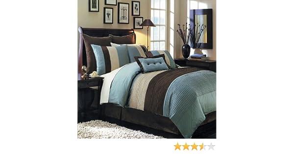 Hudson Blue Luxury 6-8 Piece Comforter Set Skirt Shams and Pillows All sizes