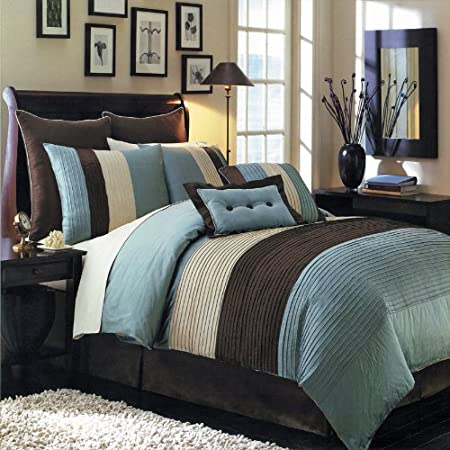 Queen Size Luxurious 12 PIECE Blue Hudson BED IN A BAG Comforter Set. Includes Comforter, Pillow Shams, Decorative Pillows, Flat sheet, Fitted sheet, Pillowcases, Bed skirt