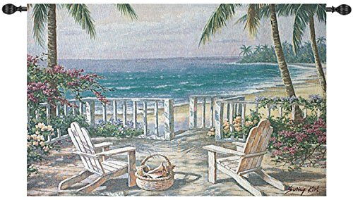 Manual Weavers Beach Party Coastal in Pastel View Cotton Wall Art Hanging Tapestry 35