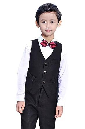 8cb90b6d8e0 Amazon.com  Liveinu Boys Formal Dress 4 Piece Suit Tuxedo Waistcoat ...