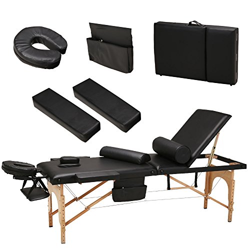"85""L All-Inclusive 3 Fold Portable Massage Table – Facial SPA Bed Portable Salon Equipment, with Free 2 Bolsters/Cradle/Hanger/Carry Case (Black)"