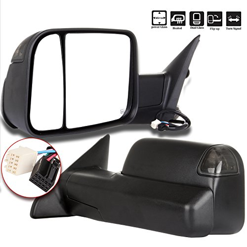 for Dodge Ram 1500 2500 3500 Power Heated LED Puddle Signal Pair Mirrors 2009-2017 (Dodge Dual Mirror)