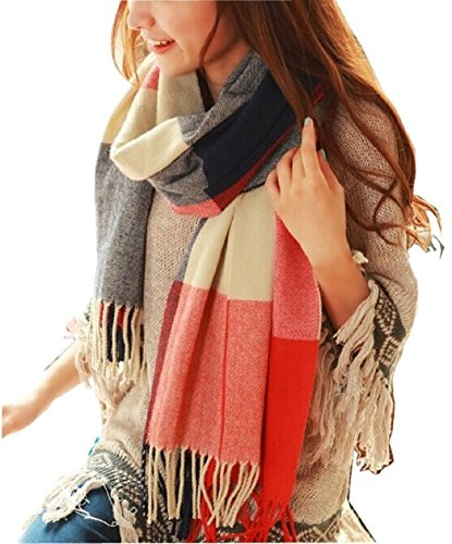 3. Wander Agio Women's Fashion Long Shawl Big Grid Winter Warm Lattice Large Scarf