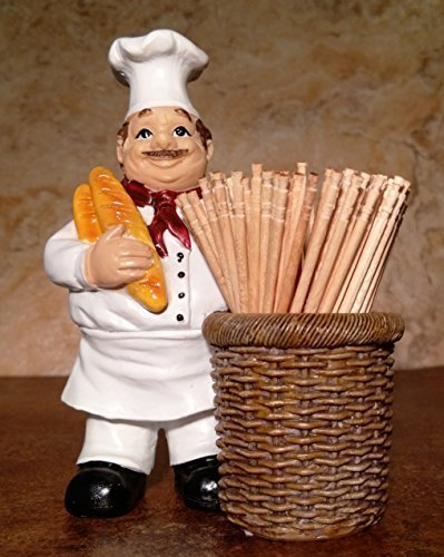 Jolly Italian Chef Baker Toothpick Holder with Bread and Basket Kitchen Accessory by DWK
