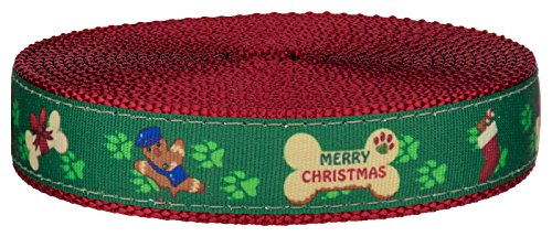 Dog Pet Christmas Ribbon Collar - Country Brook Design - 3/4 Inch Doggy Christmas on Red Nylon Webbing, 20 Yards