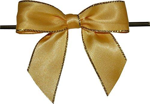 - BAYWIND LTD; Large Yellow with Gold Edge Twist Tie Bows- 100pc