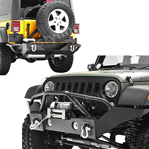 Restyling-Factory-07-16-Jeep-Wrangler-Rock-Crawler-Full-Width-Front-Bumper-w-Winch-PlateRear-Bumper-with-Tire-Carrier-and-2Hitch-Receiver-Textured-Black-Combo-Black-Black-Black