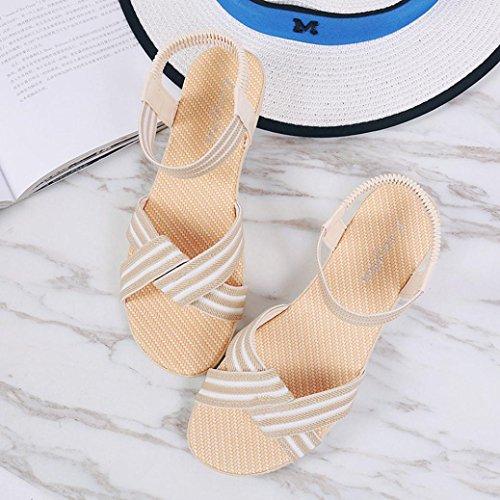 Ouneed® Damen Sandalen , Damen Sommer Schuhe Striped Bohemia Freizeit Lady Sandalen Peep-Toe Outdoor Rome Strand Gummiband Schuhe Beige