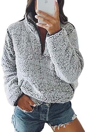 Tkria Womens Winter Warm Plush Hoodie Outwear Casual Coat Faux Fur Zip Up Sherpa Grey
