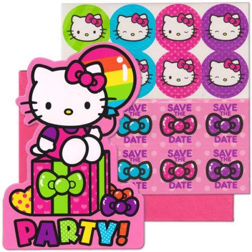 Sanrio Hello Kitty Rainbow Balloon Birthday Party Invitation 16 Count Save The Date Stickers ()