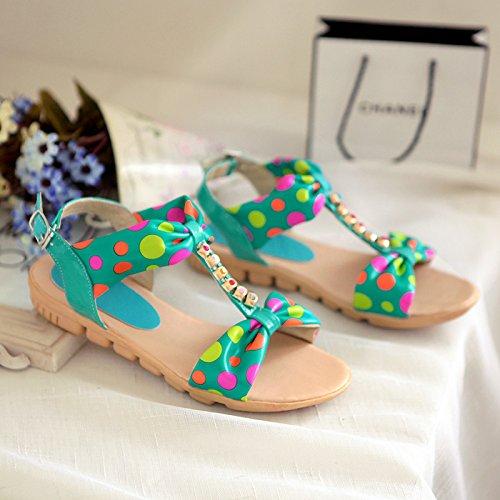 hexiajia Zapatos Planos con Cordones Mujer Verde