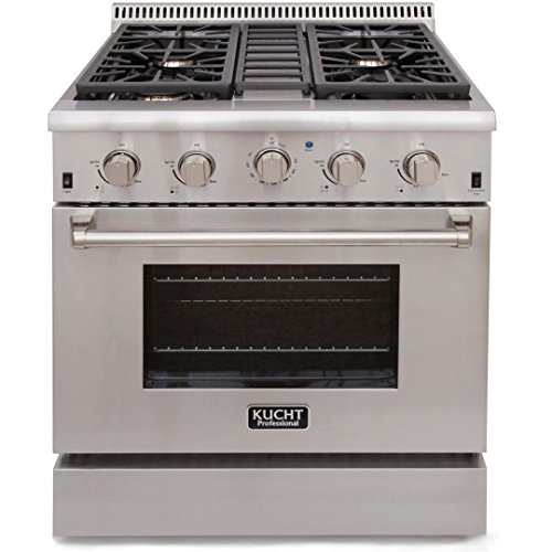 Kucht KRG3080U Professional 4.2 cu. ft. Natural Gas Range with Sealed Burners and Convection Oven, Stainless Steel - Best Freestanding Gas Range