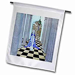 Jaclinart Royal Princess, Queen Palace Pillars Fantasy - Bright blue princess in grey and black checkered hallway with blue pillars - 18 x 27 inch Garden Flag (fl_54041_2)