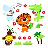 15 Premium 3D Wall Decals - Amazon Animals - Eco-Friendly - Reusable - Long Lasting - Easy Stick - Colorful - Foam Stickers - Kids Room Decals - Educational Sticker Decals - Nursery Baby Decor