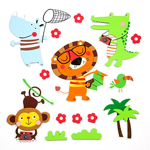 15 Premium 3D Wall Decals - Amazon Animals - Eco-Friendly - Reusable - Long Lasting - Easy Stick - Colorful - Foam Stickers - Kids Room Decals - Educational Sticker Decals - Nursery Baby Decor by Skygate