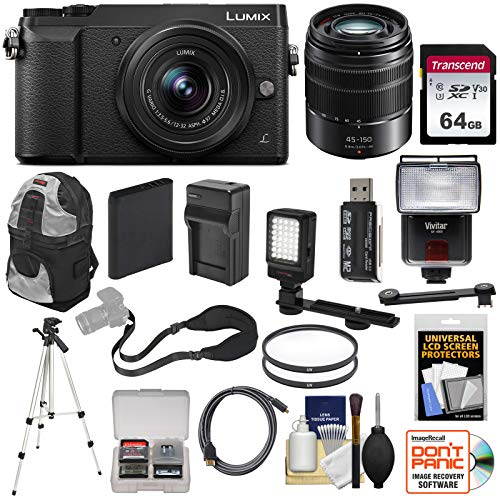 Panasonic Lumix DMC-GX85 4K Wi-Fi Digital Camera & 12-32mm & 45-150mm Lens (Black) with 64GB Card + Battery + Charger + Backpack + Tripod + Flash + Filters Kit