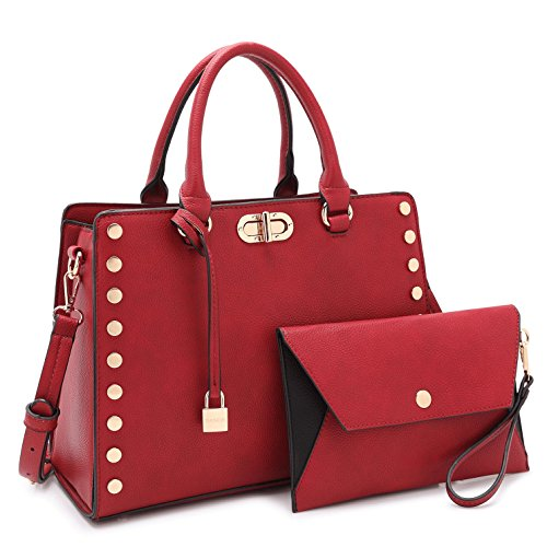 Designer Women Summer Purse, Twist-Lock Lady Handbag w/Pouch Set Studded Briefcase Teen Satchel 23-7579 ()