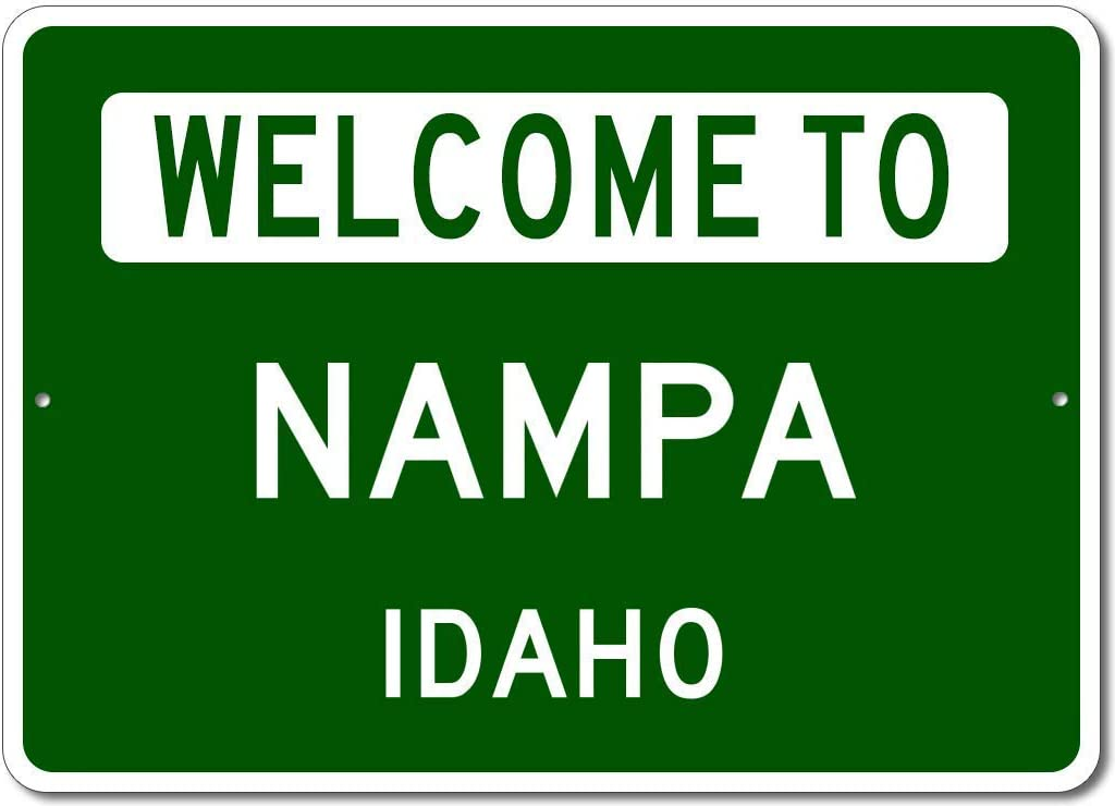 """VinMea Personalized Metal Sign Indoor/Outdoor Wall Decor,Nampa, Idaho - Welcome to Us City State Sign - Aluminum 8"""" X 12"""" Inch, Man Cave Street Sign,"""