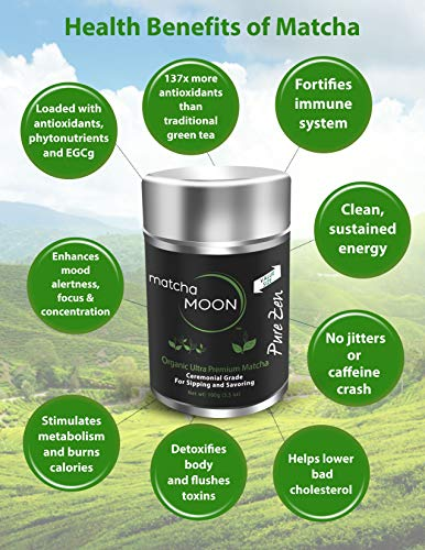 Matcha Moon - Organic Ceremonial Grade Japanese Matcha Green Tea Powder from Uji Kyoto Japan - Authentic, Premium, USDA Certified - Best For Traditionally Whisked Tea - Pure Zen - Value Size 100g Tin by Matcha Moon (Image #3)