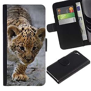 Estuche de Cuero Billetera del tirón Tarjeta de la Bolsa Titular de Suave Caso para Apple Iphone 5 / 5S / CECELL Phone case / / Baby Leopard Cub Mother Cute Puppy /
