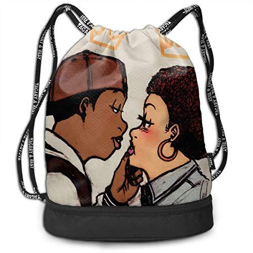 Traveling Swim Gym Beam Bag African Balck Woman Man Love Kiss Beam Backpack Basketball, Volleyball, Baseball String Bag For Boys Teens Youth, Waterproof - Bag Bean Chair Volleyball
