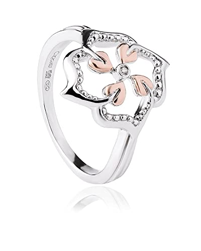 Clogau 925 Sterling Silver and 9ct Rose Gold Tree of Life Flower Ring 8Nlbn
