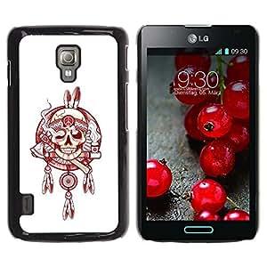 Be Good Phone Accessory // Dura Cáscara cubierta Protectora Caso Carcasa Funda de Protección para LG Optimus L7 II P710 / L7X P714 // Indian Chief Peace Smoke White Red