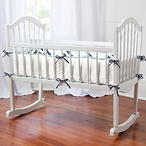 Carousel Designs Navy and Gray Geometric Cradle Bumper